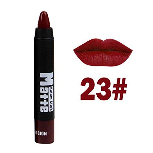 Rouge à lèvres,Honestyi MISS ROSE Classic Femmes Rouge à Lèvres Brillant à lèvres Moisture Rouge à lèvres mat imperméable Beauté cosmétique Queue rouge du corps noir (23#)
