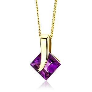 Miore Damen-Halskette 9 Karat 375 Gelbgold Amethyst Anhänger 45cm