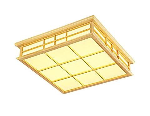 ayaya bois lampe LED japonais tatami Tapis rectangulaire carré Plafonnier protocoles bois flotté en bois rustique bois massif Maison de Campagne Effet bois lampe chambre lampe de plafond pour chambre à coucher 35CM Warmweiß