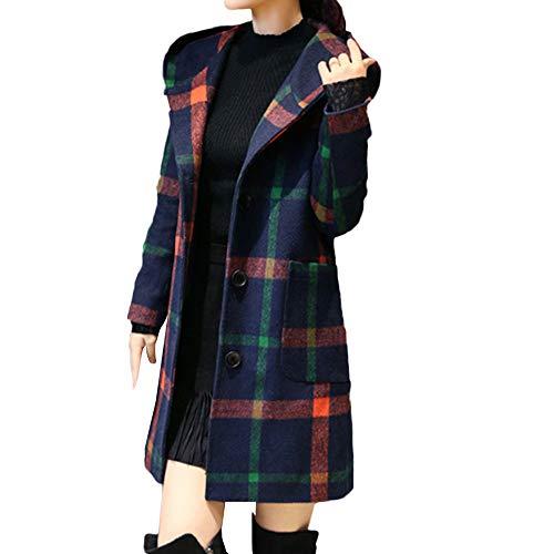 Deloito Damen Mode Trenchcoat Lange Ärmel Mit Kapuze Mantel Plaid Knopf Jacke Wollmantel Mit Tasche (Grün,Large) - Plaid Trenchcoat