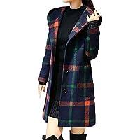 Yvelands Moda Mujer Manga Larga con Capucha botón escocés Chaqueta de Lana con Bolsillo Blusa Superior