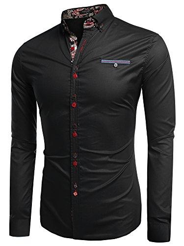 Coofandy Chemise Homme Manche Longue Coton de Marque Col Italien Boutonné Casual Mode Taille S-XXXL Noir