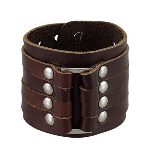 Braun Leder 4Gurt Armband Handgelenk Band verchromten Nieten -