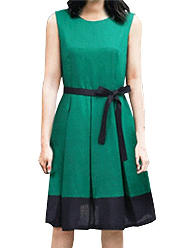 ACHICGIRL Women's Fashion Sleeveless Color Block Pleated Party Dress with Belt Green