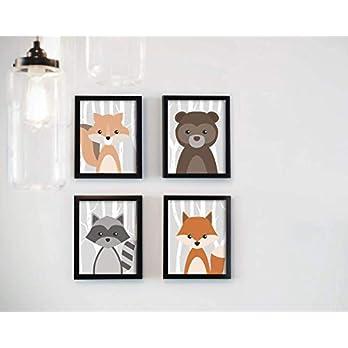 Kinderzimmer – Poster – Waldtiere – Poster-Set – 4 Stück