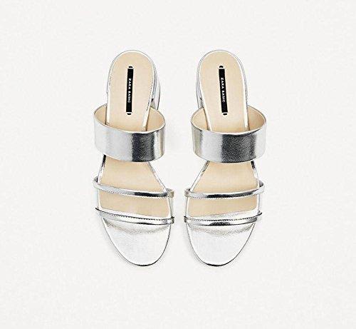 Offene Sandalen in Silber Schuhe mit dem Wort Stil Transparente mit Pantoffeln rau Silver