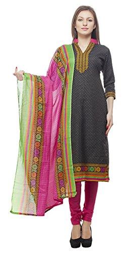 Divyaemporio Women'S Faux Cotton Black And Pink Salwar Suits Dress Material
