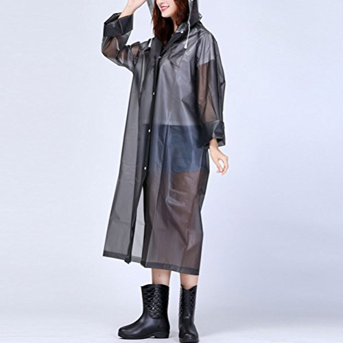 Zhhlaixing Outdoor Adult Hooded Raincoat PVC Waterproof Poncho Coat Long Sleeve gray