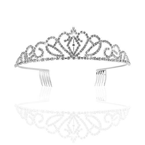 t Strass Krone Tiara mit Kamm (Silber) (Tiara Kämme)