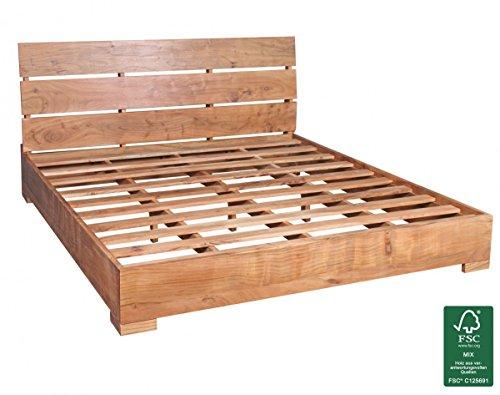 FineBuy Akazie Massivholz Bettgestell 180 x 200 cm Doppelbett mit Lattenrost