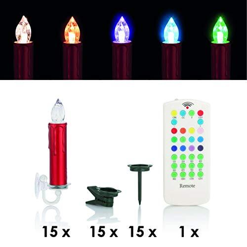 Velas de Navidad LED inalámbricas con mando a distancia, regulador de intensidad, temporizador y opcional blanco cálido o cambio de color - adecuado para exteriores - iluminación de árbol de Navidad