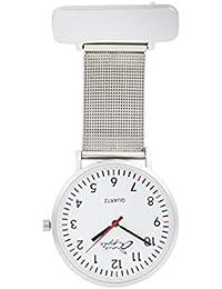 Annie Apple designer Silver Mesh strap White Dial infermieri infermiera orologio da taschino