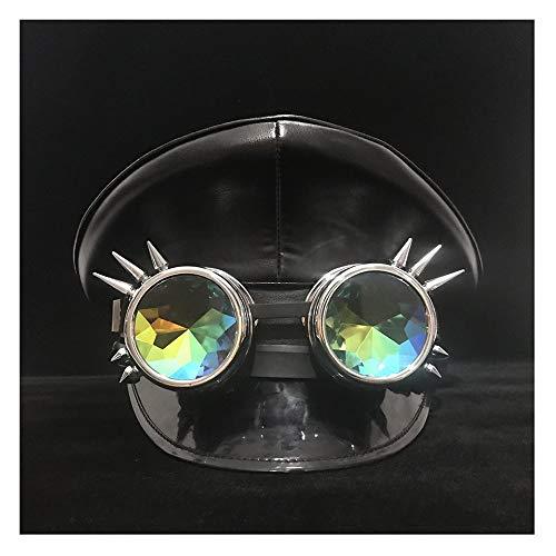 SAIPULIN Steampunk Gear Brille Militärhut Polizeimütze Cosplay Halloween Hut Leder Schwarz Deutschland Offizier Armee Hut Nachtclub Hut (Farbe : Schwarz, Größe : 61 cm) (Party Stadt Armee Kostüm)