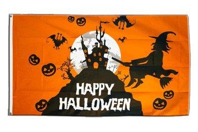 Fahne / Flagge Happy Halloween orange + gratis Sticker, Flaggenfritze®