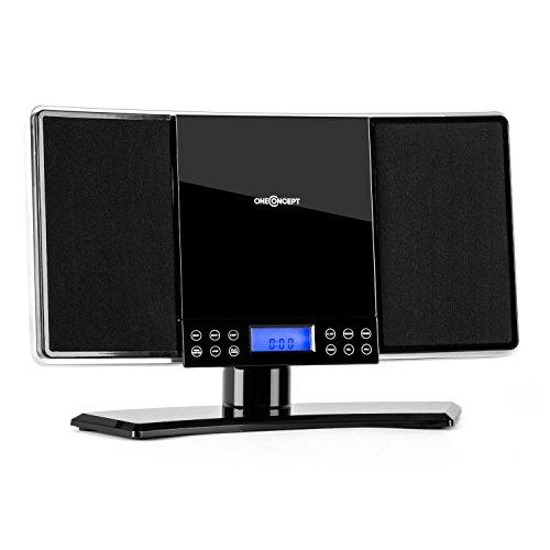 oneConcept V14 10021807 - Minicadena (equipo de sonido ultracompacto, reproductor de CD, MP3, radio AM/FM, entrada AUX, botones táctiles, reloj con alarma, mando a distancia, altavoz estéreo) - negro