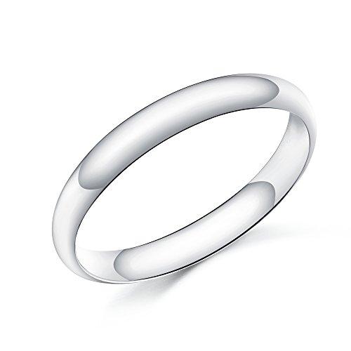Silber 3 mm In D-Form, mit Geschenk-Box Größen (Mens Band Platinum Hochzeit)