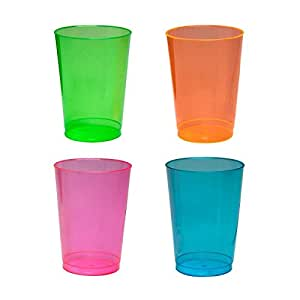 Plastic Neon Tumbler Glasses 10 oz 50 Count