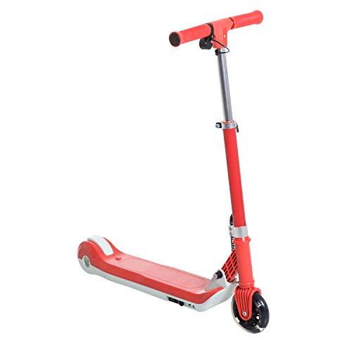 Homcom Trottinette électrique Enfants Pliable 6-8 Km/h Max. Hauteur Guidon réglable alu Rouge Blanc