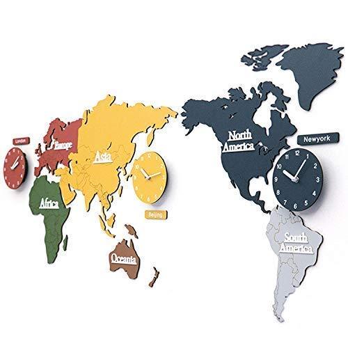 Gran reloj de pared en forma de mapamundi 3D de madera con relojes, adecuado para tiendas, oficinas, locales, color, 137 * 63 * 0.3 CM