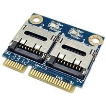 chenyang doble TF Micro SD tarjeta para mini PCI-E Express con mitad soporte adaptador de lector de tarjetas de memoria