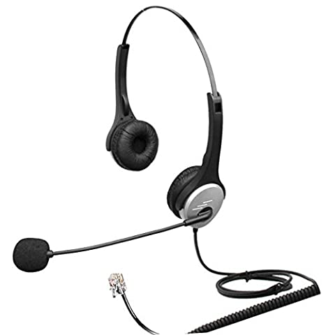 4Call H502MA Corded RJ Telephone Headset Dual Ear with NC Microphone for Aastra Nortel Nec Mitel ShoreTel Toshiba Siemens GE InterTel Sprint Talkswitch Iwatsu Packet8 ESI Allworx 3Com Office IP Phones