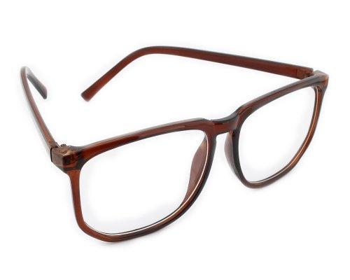 BONAMART Damen Brillengestell Wayfarer Herren Nerd brille ohne stärke lesebrille 8061 Brau