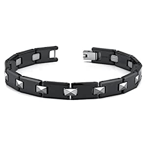 Peora European Style Tungsten and Ceramic Link Bracelet for Men