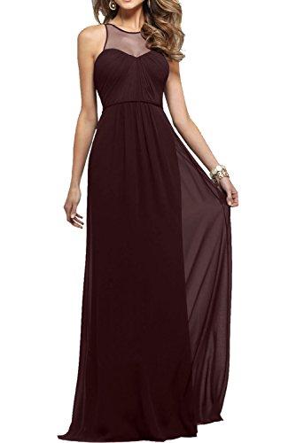 Milano Bride Elegant Navy Blau Langes Abendkleider Chiffon Partykleider Promkleider Lang Festliche Kleider Schoko Braun