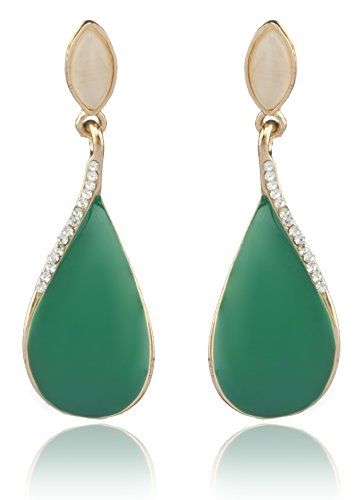 Youbella Jewellery Valentine Collection Gold Plated Zircon Dangle & Drop Earrings For Women Green