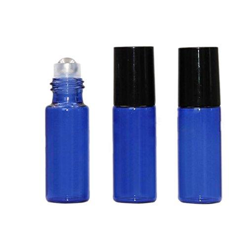 10 Packungen Roll-on-Flaschen zum Nachfüllen, aus blauem Glas, Kosmetik-Glasbehälter ohne Inhalt, Perfumfläschchen, ideal für Reisen, ätherische Öle, Aromatherapie, Lippenbalsam, Roll-on-Behälter, 5ml