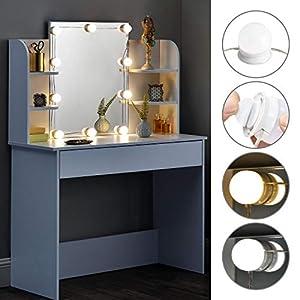 ArtLife Schminktisch Bella mit LED-Beleuchtung, Spiegel, Schublade und Fächern | weiß | modern | MDF Holz | Frisiertisch…