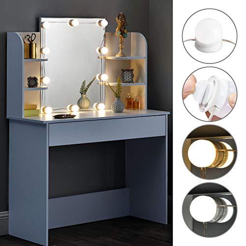 ArtLife Schminktisch Bella mit LED-Beleuchtung, Spiegel, Schublade und Fächern | weiß | modern | MDF Holz | Frisiertisch Kosmetiktisch Kommode -