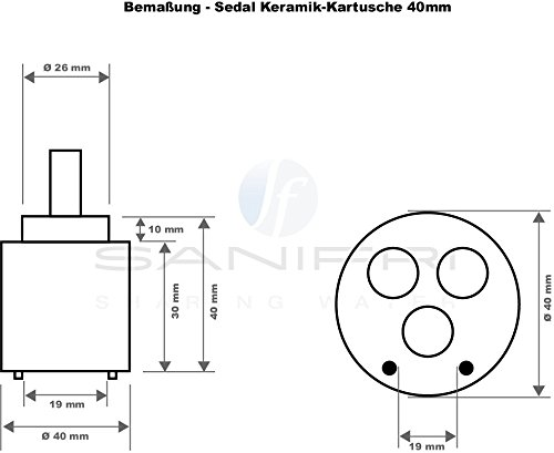 Sanifri – Keramik-Kartusche für alle Einhandarmaturen, Ø 40 mm - 2