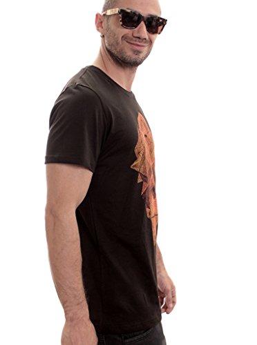 Herren T-Shirt mit Tetrahead Geometrischem Aufdruck - handgefertigt durch Siebdruck auf 100% Baumwolle - Street Habit Dunkelbraun