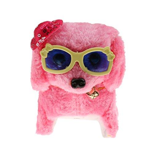 Plüsch Hündchen Spielzeug Hund Batterie batteriebetrieben Elektronische Haustier - Rosa Hut + Gläser, 16.5X8.5X11.5cm / 6.49x3.34x4.52inches (LxBxH)