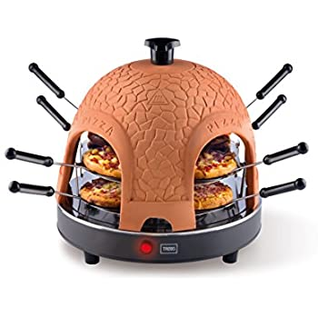 Trebs 99301 Pizzaofen mit Terrakottakuppel für 8 Personen, Pizzadom, 950 Watt, Zubereitung in nur 5 – 7 Minuten