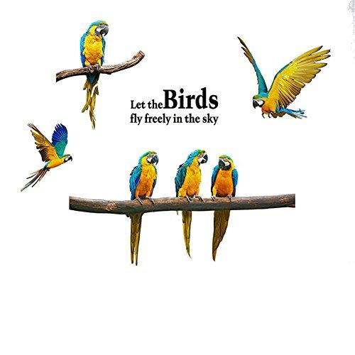 Hacoly Wandaufkleber Ara Wandsticker Küche Glasfenster DIY selbstklebend Aufkleber Vögel Wandtattoo Esszimmer Wanddeko Ideal für die Dekoration Ihres Hauses -