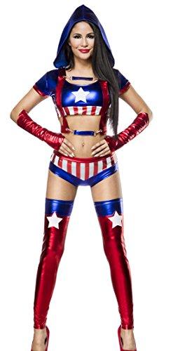 Damen Miss America Outfit Kostüm Verkleidung Panty und Top Stulpen im USA Flaggen Look und Handschuhe in bunt