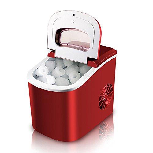 LIQICAI Eiswürfelmaschine Edelstahl Eismacher Maschine produziert 15 Kg EIS Pro Tag Produktionszeit 6-13 Minuten Elektrisch Eismaschine Kompressor (Farbe : Red) (Kompressor Eis Maschine)