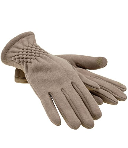 Fiebig Damenhandschuhe Handschuhe Fingerhandschuhe Fleecehandschuhe Winterhandschuhe Touchscreen mit Teddyfell für Frauen...