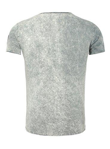 Key Largo Herren T-Shirt FOLLOW Vintage Batik Look mit Patches und Brusttasche Grau