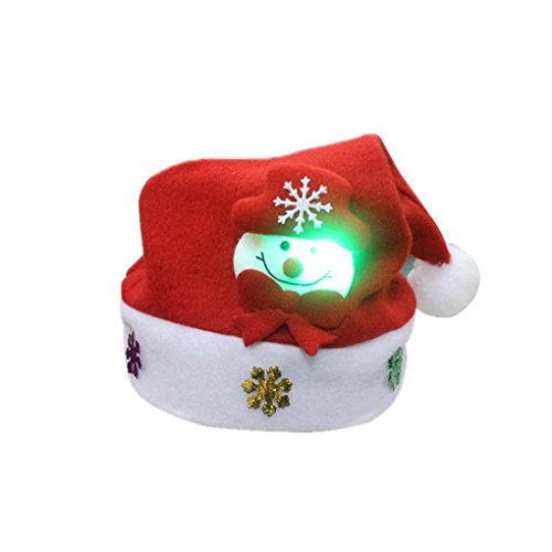 WensLTD Kids LED Christmas Party Santa Hat Reindeer Snowman Xmas Gifts Cap (A)