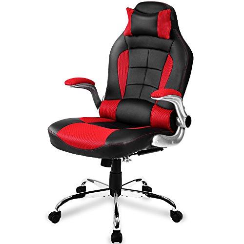 Merax Racing Stuhl Gaming Stuhl Sportsitz Bürostuhl Ergonomische Design PU Kunstleder Rücklehne Armlehnen Einstellbar, Schwarz/Rot (Rot)