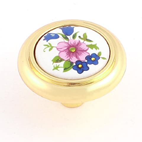Home Armoire Meubles de porte Motif floral en céramique poignée