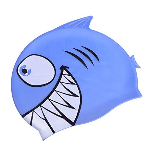Sharplace Kinder Badekappe Badehaube Wasserdicht Schwimmkappe mit Spaß Bademütze Silicone Cap Silikonbadekappe - Haifisch-Blau