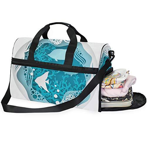 Dallonan Große Kapazität Reisetasche Papier Unterwasser Meereshöhle Meeresfische Korallenriff mit Blasen und Wellen Duffel Tasche Gym Schuh Fach Sport Tote Bag Handtasche -