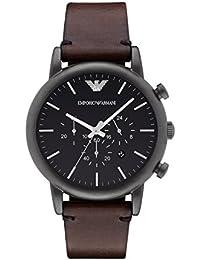 Emporio Armani AR1919 - Reloj de cuarzo con correa de cuero para hombre, color negro