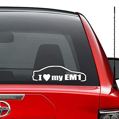 FERZA home Ich liebe meine EM1 Honda Civic japanische JDM Vinyl vorgestanzte Aufkleber für Fenster Wand Dekor Auto LKW Fahrzeug Motorrad Helm Laptop und mehr - (Größe 6 Zoll / 15 cm breit) / (Farbe Gl (Honda Em1)