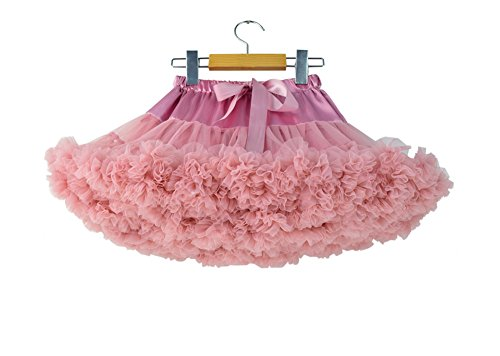 Little Girls '3-Layered Pleated Tulle Mini Rock Ballett Tanz Tutu 5-7 Jahre / M, Hellrosa (Layered Mini)