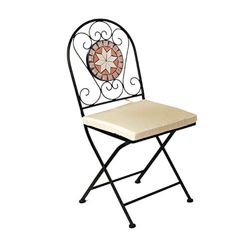 Dekorativer Mosaik Klappstuhl Mosaikstuhl Gartenstuhl mit Stuhlpolster Beige für In- und Outdoor